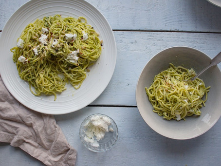 BASIL PESTO SPAGHETTI WITH GOAT'S CHEESE