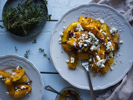 MAPLE & THYME ROASTED PUMPKIN WITH FETA CHEESE