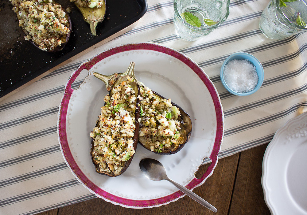 Lemon Quinoa Stuffed Aubergines