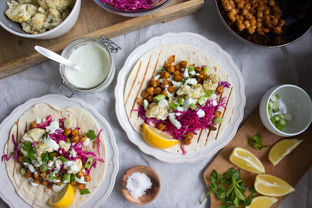 Spicy chickpea and cauliflower tacos