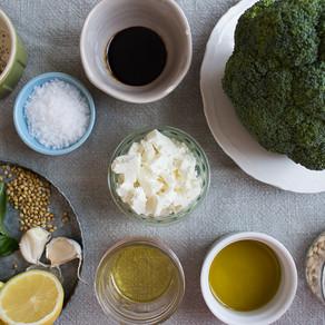ROAST BROCCOLI WITH PINE NUTS & FETA