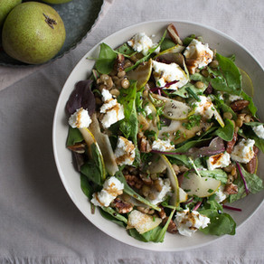 PEAR, GOAT'S CHEESE & GREEN  LENTIL SALAD