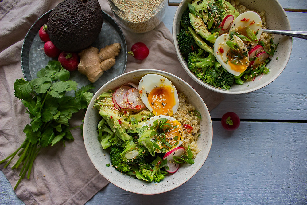 Broccoli and quinoa bowls