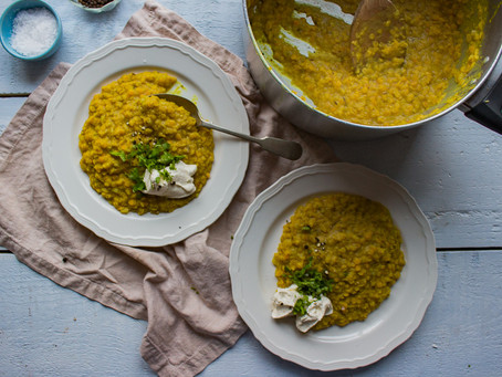 RED LENTIL DAHL WITH CREME FRAICHE