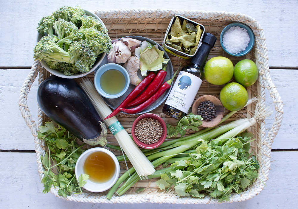 Picture of ingredients for an asian broth