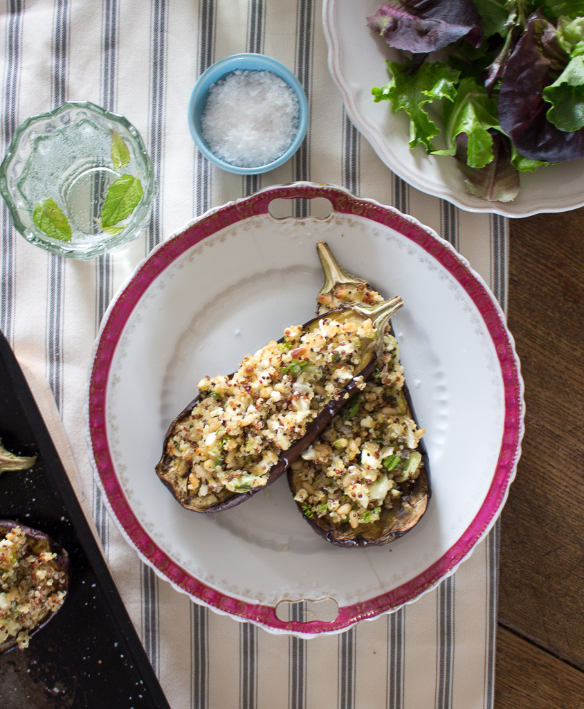 Image of Lemon Quinoa Stuffed Aubergines
