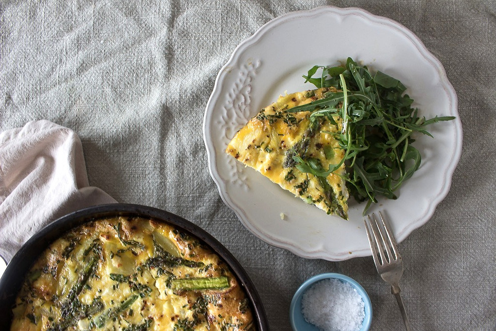 Picture of a slice of Asparagus and Potato Frittata