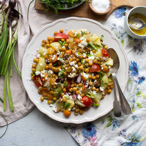 SUMMER SALAD WITH FETA & CRISPY CHICKPEAS