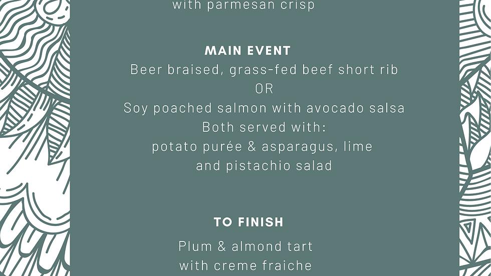 Dine @ Home menu - 3 courses x 1 person