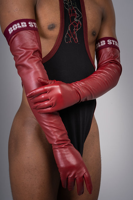 Bold Leather Gloves - Burgundy