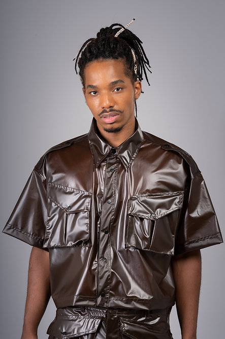 Oversized Plastic Soldier Shirt - Brown