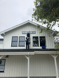 Installing the sign for Field+Fort's new shop in Summerland, Santa Barbara, CA