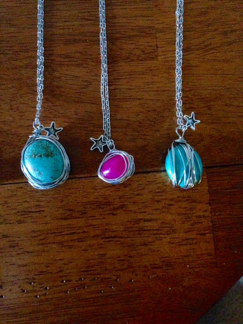 Long Wire Wrapped Necklaces
