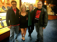 On set for Foot Soldiers with director Anthony Pitellis, and creator and writer Frances Miller and producer Will Hughes