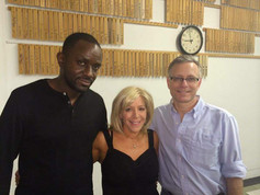 On set for Grey Dawn with director Clayton Broomes Jr. and Diodato Grisi