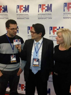 On the red carpet at the International Film Festival Manhattan for Shear Pratique with festival cofounder Luis Pedron and writer Daniel Quiterio