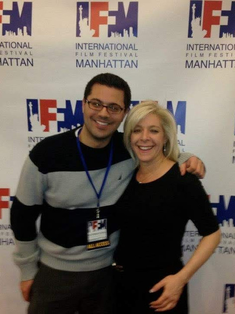 On the red carpet at the International Film Festival Manhattan for Shear Pratique with writer Daniel Quiterio