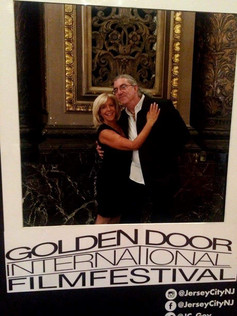 On the red carpet at the Golden Door International Film Festival for The Networker with writer Rich Buyer
