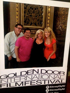 On the red carpet at the Golden Door International Film Festival for The Networker with Joe D'Onofrio, Kelsey O'Brien and Frank Nicolla