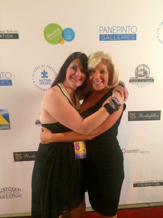 On the red carpet at the Golden Door International Film Festival for The Networker with radio host Cindy Mich