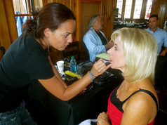 On set for The Networker with makeup artist Natividad Bujalance Andres