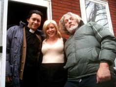 On set for Hellbenders with Clifton Collins Jr. and Clancy Brown