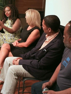 At the Ellington Room premiere screening of Saving Father Q & A with some of the cast, producer and director