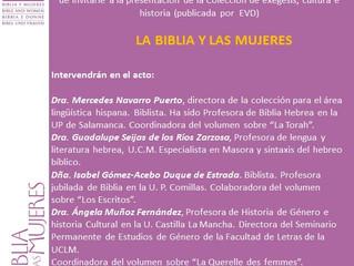 Colección La Biblia y las mujeres: presentación.