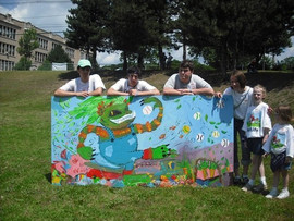 Collaborative Garden Monster mural