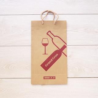 紅酒牛皮手提牛皮紙袋