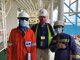 Masked seafarers Arnd ship visit 2020 11