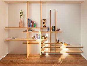 Plankenkast gemaakt van hout met diverse objcecten geschikt als kast, ontworpen door de ontwerpafdeling justpiet