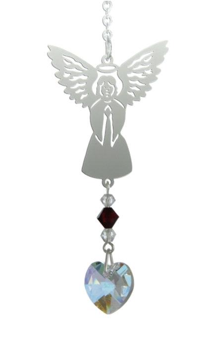 Birthstone Angel Suncatcher - January (Garnet)