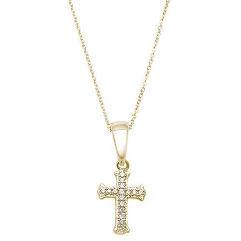 10k Macro Diamond Cross Pendant