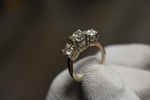 Three Stone Moissanite Ring in Sterling Silver