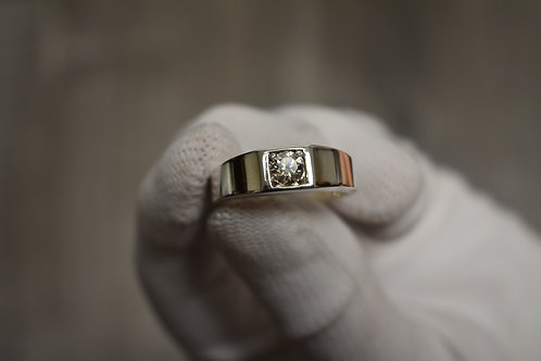 Sleek White Sapphire Band in Sterling Silver