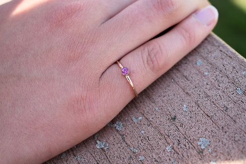 Stackable Rose Gold Bezel Set Ring