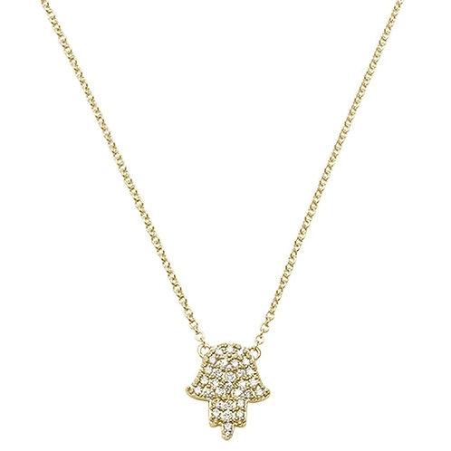 Micro Diamond Hamsa Pendant