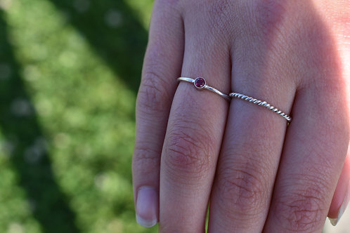 Stackable Sterling Silver Bezel Set Ring