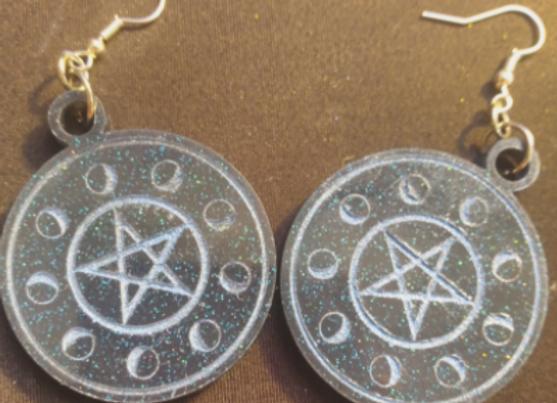 Circle of the Moon Pentagram Earrings