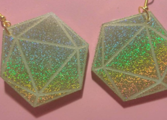 Holographic Dice Earrings
