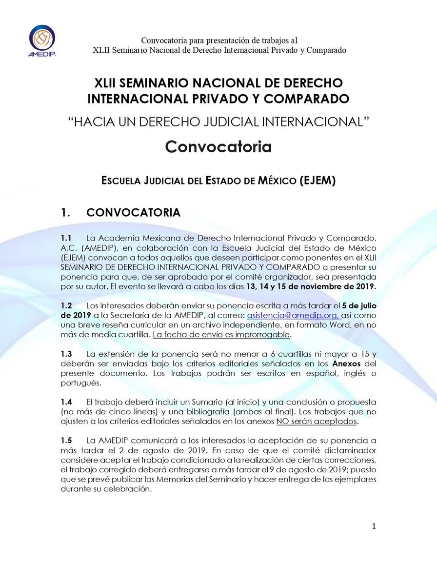 Convocatoria al XLII Seminario Nacional de Derecho Internacional Privado y Comparado.