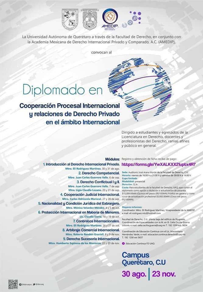 Concluye el Diplomado en Cooperación Procesal Internacional y relaciones de Derecho Privado en el ám