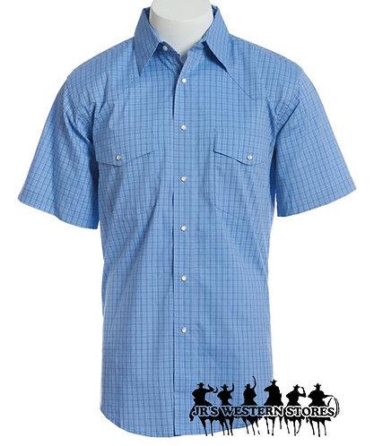 Wrangler Men's Blue Plaid Wrinkle Resist Short Sleeve Western Snap Shirt