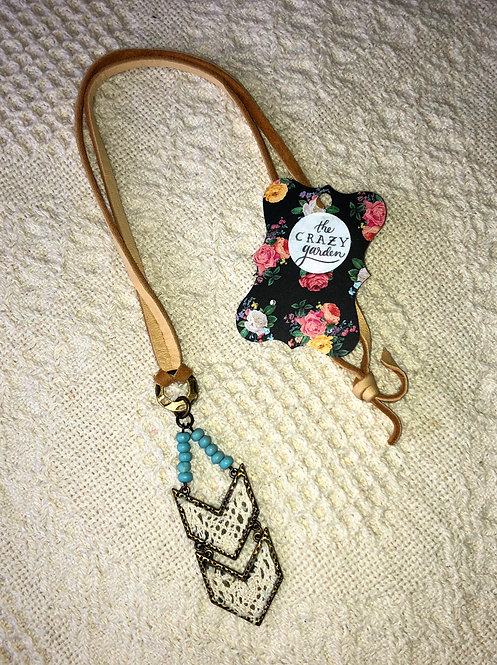 Chevron w/Turquoise Leather Necklace