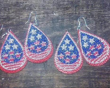 Star Cut Outs Patriotic Dangle Earrings