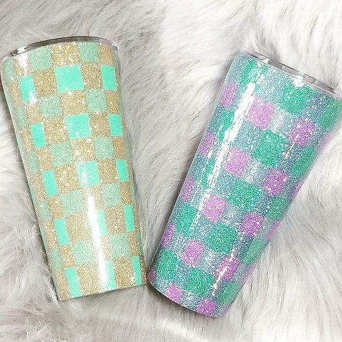 Glittered Plaid Tumbler