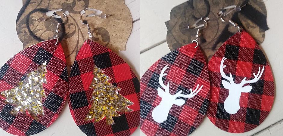 Buffalo Plaid Holiday Earrings
