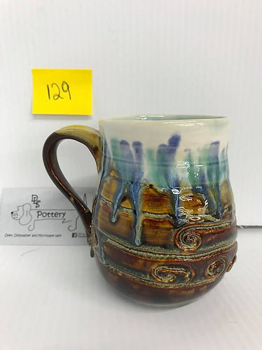 Swirl Brown/White Drip Mug #129