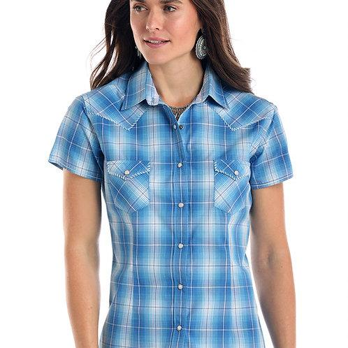 Rough Stock Ladies Short Sleeve Blue/White Plaid Snap Shirt